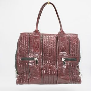 Cynthia Rowley Burgundy Oversized Leather Tote Bag